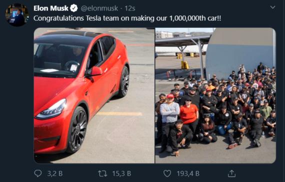 Tesla 1,000,000 Elektrikli Otomobil Üretti!